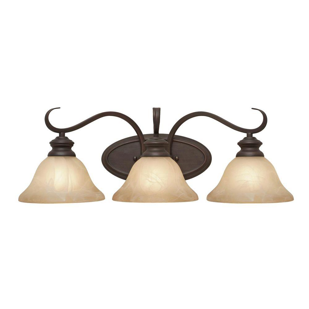 null Starke Collection 3-Light Rubbed Bronze Bath Vanity Light