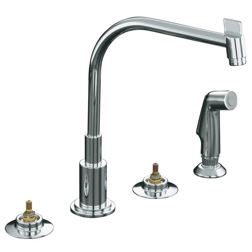 KOHLER Triton 2-Handle Standard Kitchen Faucet in Polished Chrome