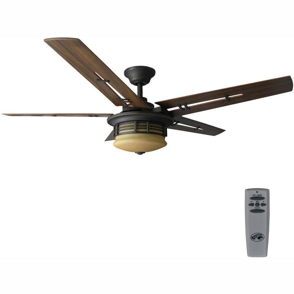 Hampton Bay Pendleton 52 in. LED Indoor Oil Rubbed Bronze Ceiling Fan with Light Kit and Remote Control