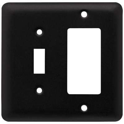 Stamped Round Decorative Switch and Rocker Switch Plate, Flat Black