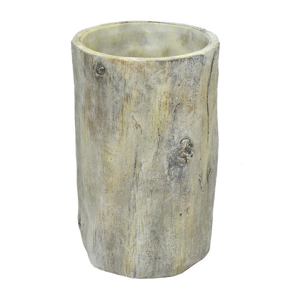 Grey Wood Look Clay Planter