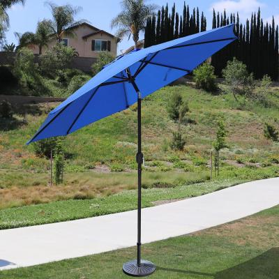 9 ft. Steel Crank and Tilt Market Patio Umbrella in Royal Blue