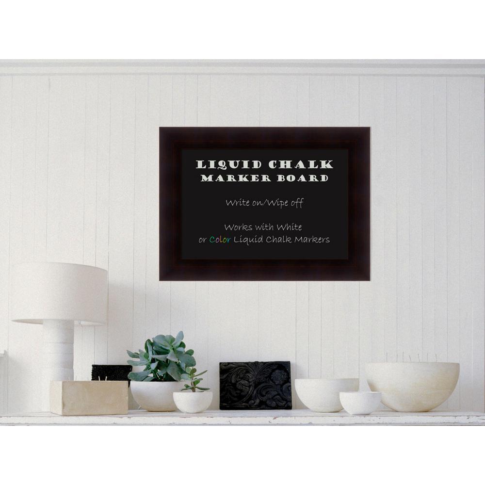 Portico Espresso Wood 30 in. W x 22 in. H Framed Liquid Chalk Marker Board