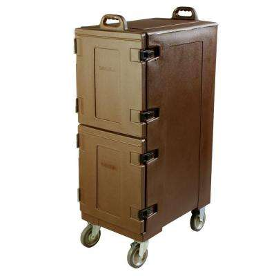 2 Compartment Polyethylene Wheeled Insulated Pan Carrier in Brown