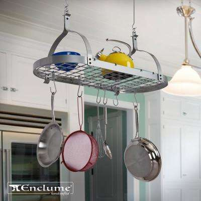 NEW  Silver Oval Ceiling Rack with 12 Hooks