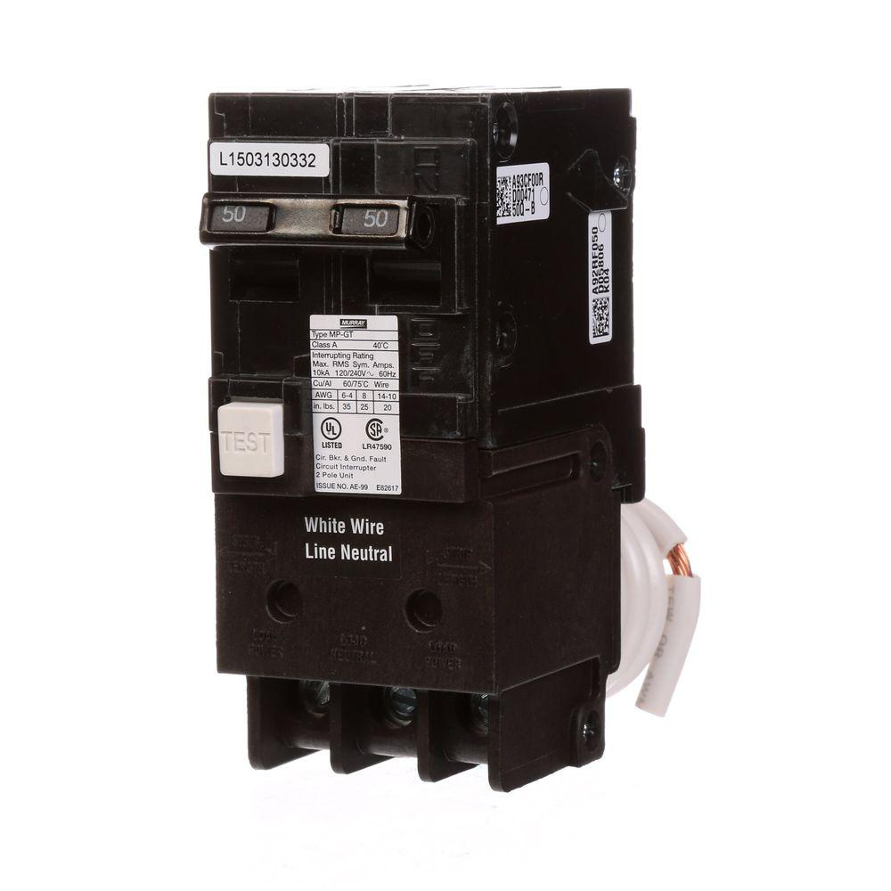 Murray 50-Amp Double-Pole Type MP-GT GFCI Circuit Breaker