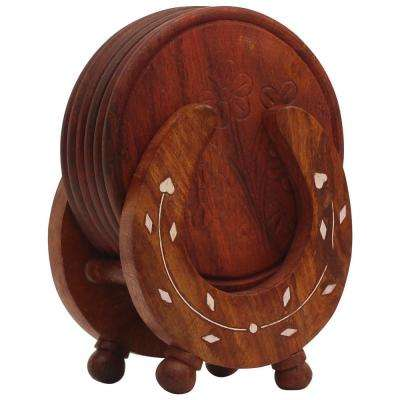 6-Piece Brown Retro Wood Drink Coasters with Horseshoe Shaped Holder