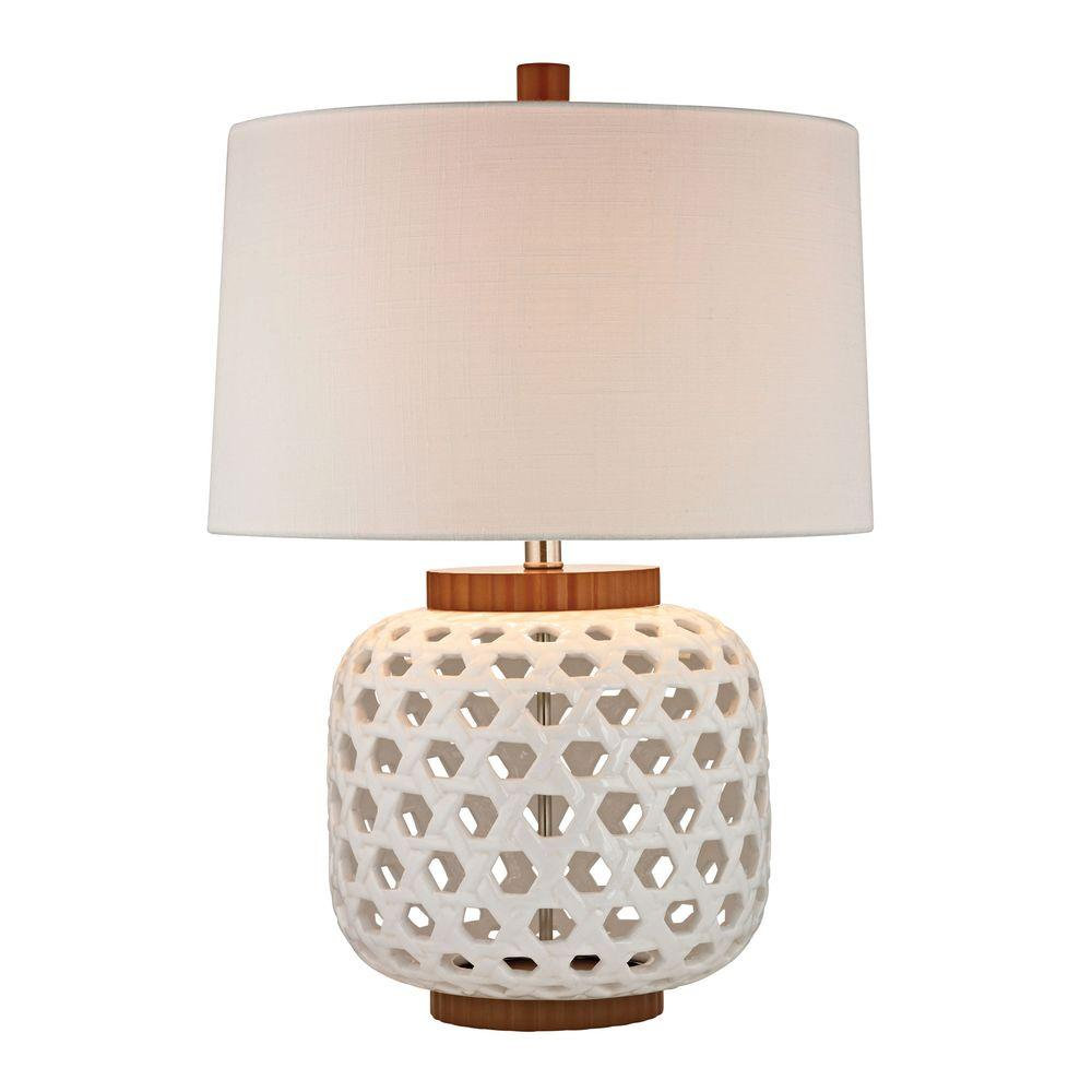 An Lighting Woven 26 In White And Wood Tone Ceramic Table Lamp