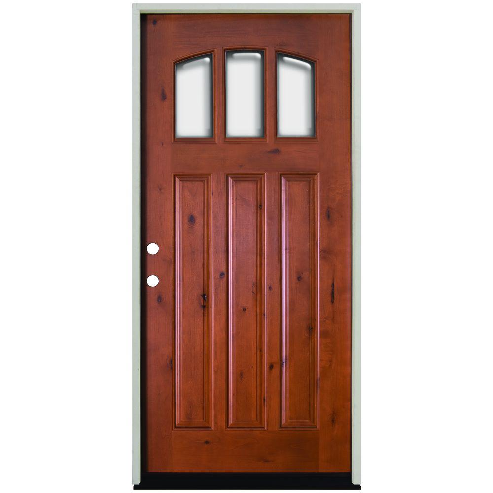 Steves & Sons 36 in. x 80 in. Craftsman 3 Lite Arch Stained Knotty Alder Wood Prehung Front Door