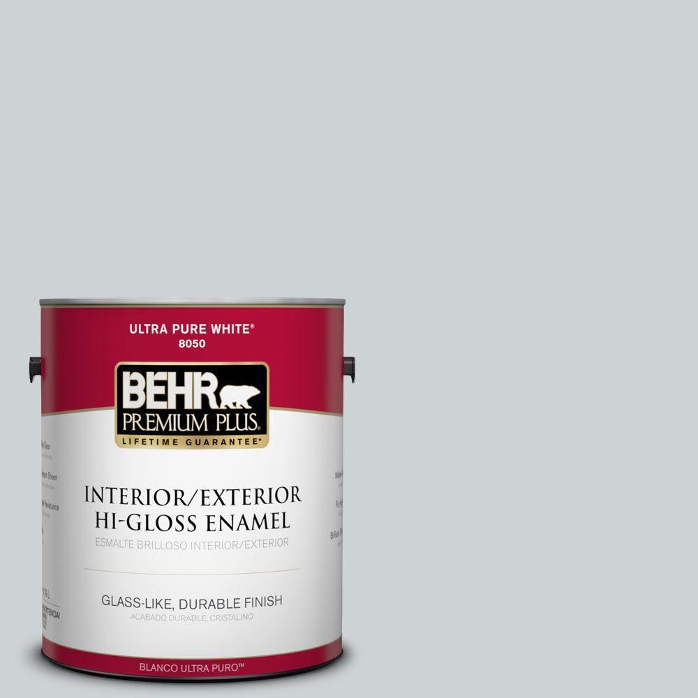 BEHR Premium Plus 1-gal. #N510-1 Silver Shadow Hi-Gloss Enamel Interior/Exterior Paint