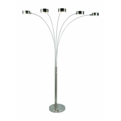 Micah Plus Modern LED 88 in. 5-Arc Brushed Steel Floor Lamp with Dimmer