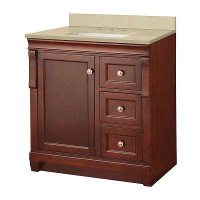 Naples 31 in. W x 22 in. D Vanity in Tobacco with Engineered Marble Vanity Top in Crema Limestone with White Sink