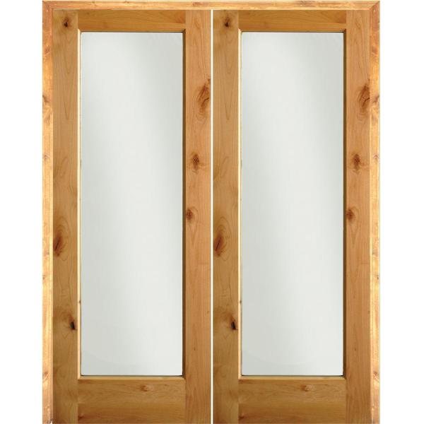 72 in. x 80 in. Rustic Knotty Alder 1-Lite Clear Glass Both Active Solid Core Wood Double Prehung Interior Door