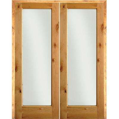 72 in. x 80 in. Rustic Knotty Alder 1-Lite Clear Glass Left Handed Solid Core Wood Double Prehung Interior Door