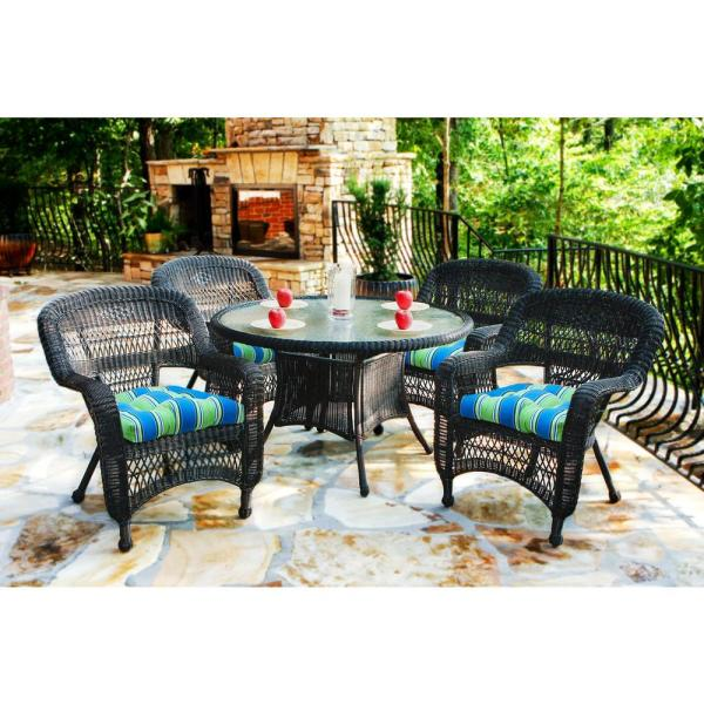 Portside Dark Roast 5-Piece Wicker Outdoor Dining Set with Haliwell Caribbean Cushions