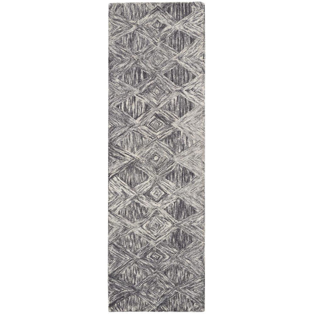 Nourison Interlock Charcoal 2 ft. x 8 ft. Runner Rug