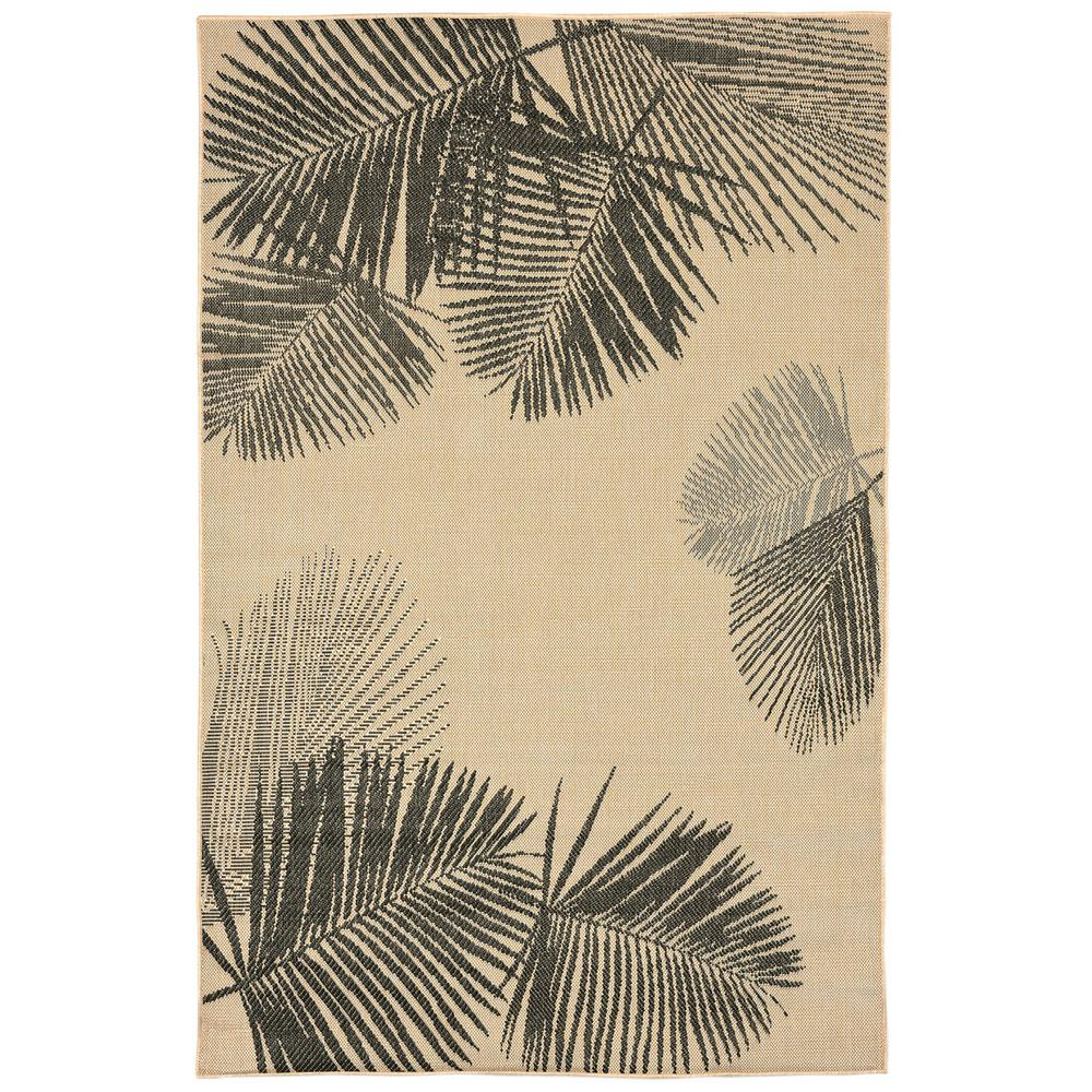 Baxter Tropical Leaf Netural 8 ft. x 10 ft. Indoor/Outdoor Area