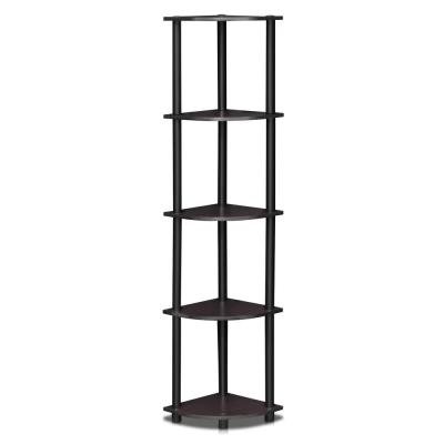 Turn-N-Tube Dark Walnut 5-Shelf Corner Open Shelf