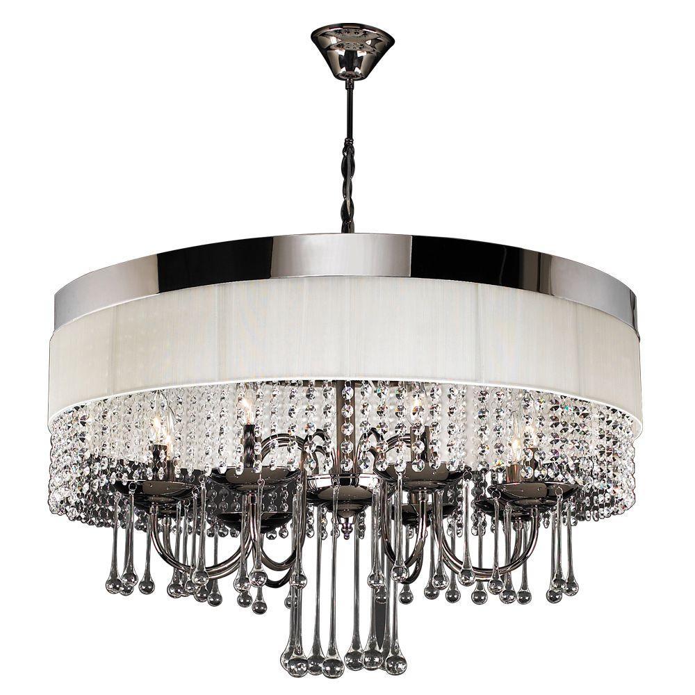Plc Lighting 8 Light Black Chrome Chandelier With Off White Linen Shade