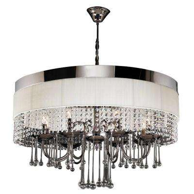 8-Light Black Chrome Chandelier with Off-White Linen Shade
