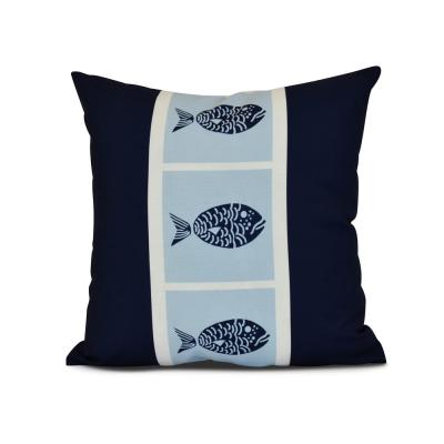 Fish Chips Animal Print Throw Pillow in Navy Blue