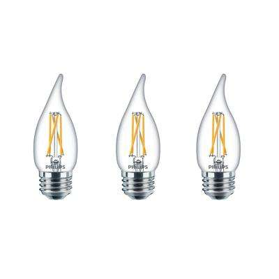 40-Watt Equivalent Soft White BA11 Dimmable Warm Glow Dimming Effect LED Candle Light Bulb Bent Tip E26 (2700K) (3-Pack)