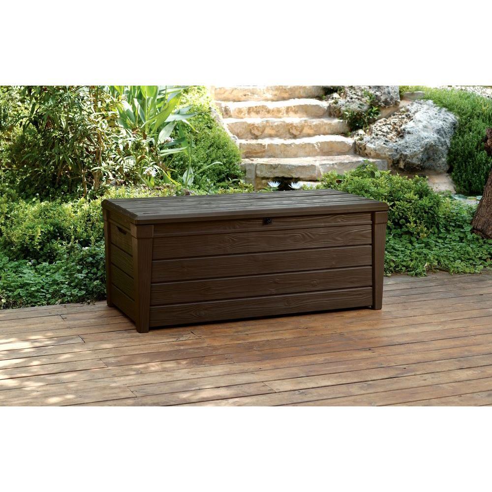 Pleasing Keter Brightwood 120 Gal Resin Deck Box In Brown Ibusinesslaw Wood Chair Design Ideas Ibusinesslaworg