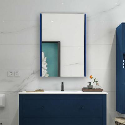 22 in. x 30 in. Surface Mount Medicine Cabinet in 1 Door Navy Bluewith 2 Shelves and Mirror