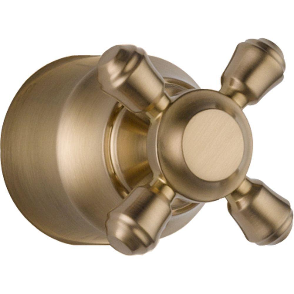 Cassidy Hand Shower/Diverter Valve Metal Cross Handle in Champagne Bronze