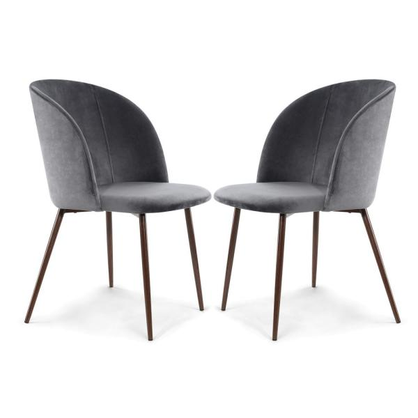 Kantwell Cool Charcoal Velvet Dining Chair (Set of 2)