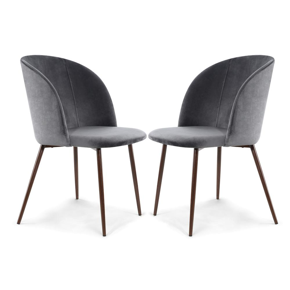 Poly and Bark Kantwell Cool Charcoal Velvet Dining Chair (Set of 2)