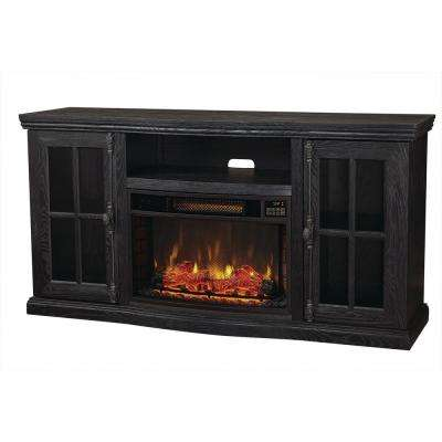 Manor Place 67 in. TV Stand Bluetooth Electric Fireplace in Black
