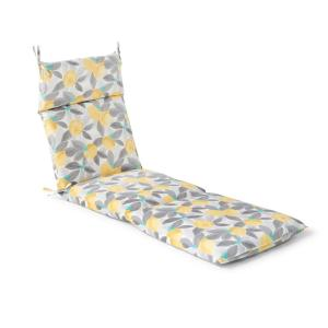 21.5 in. x 72 in. x 4 in. Stone Gray Lemons Outdoor Chaise Lounge Cushion