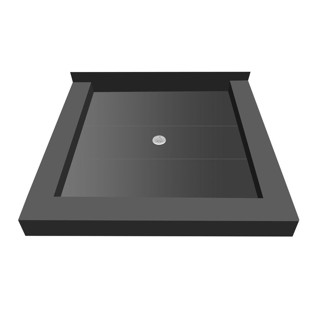 Redi Base 42 in. x 36 in. Triple Threshold Shower Base with Center Drain