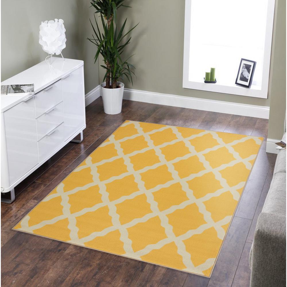 Clifton Collection Moroccan Trellis Design Yellow 7 ft. x 10 ft. Area Rug