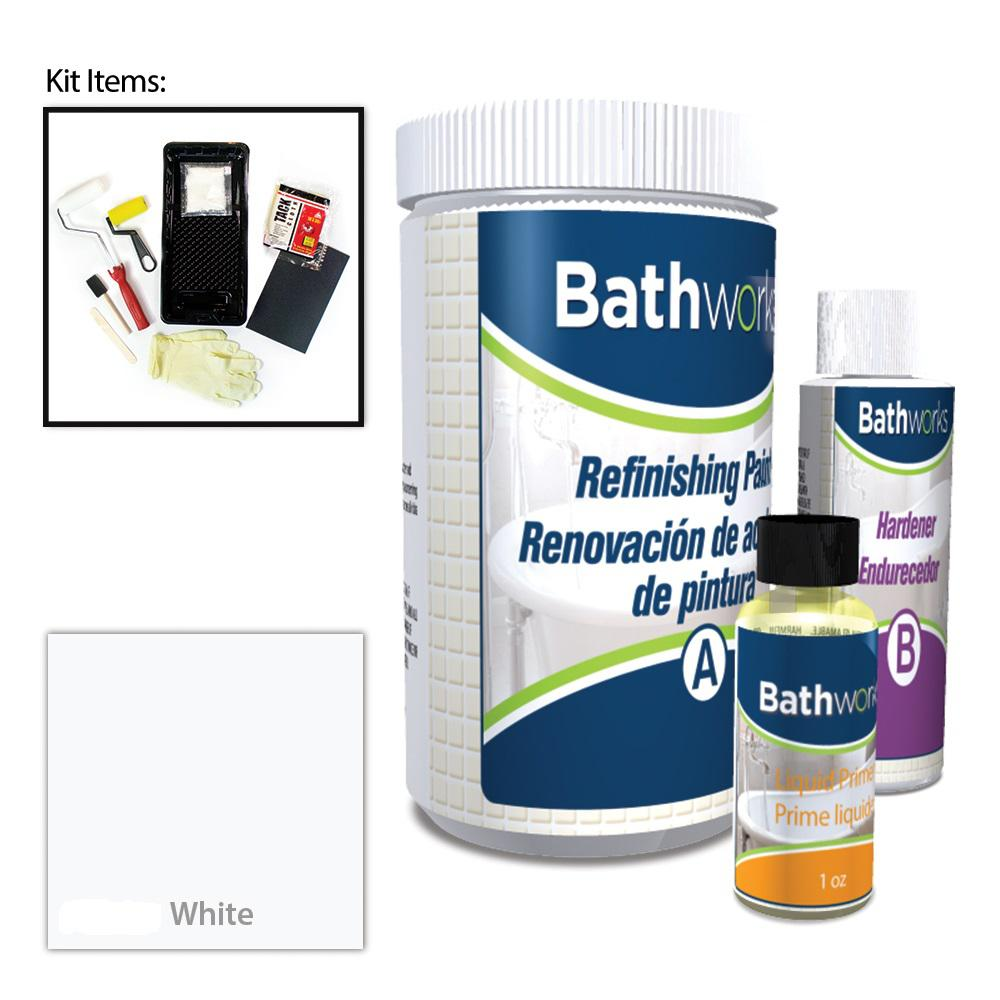 BATHWORKS 20 oz. DIY Bathtub and Tile Refinishing Kit- White-BWK-01 ...