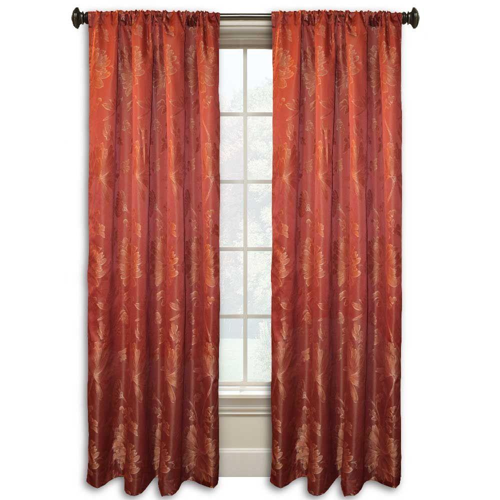 null Lucerne 84 in. L Red Rod Pocket Curtain