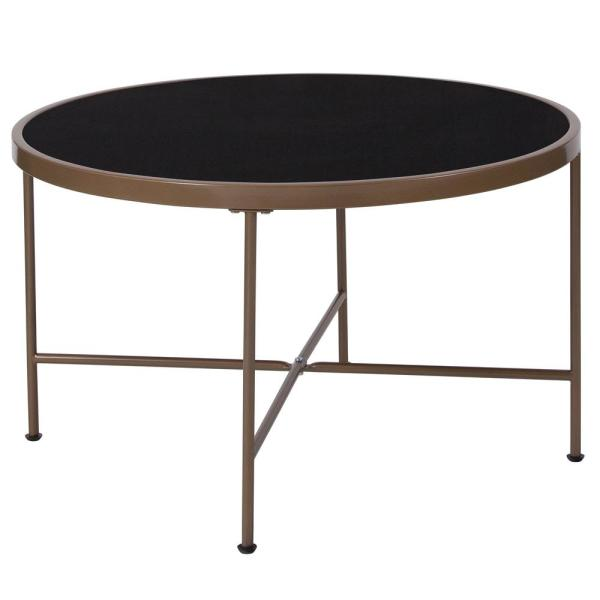 Carnegy Avenue Black Top Matte Gold Frame Coffee Table Cga Nan