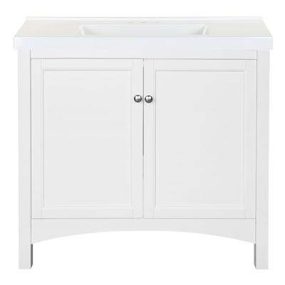 Haven 37 in. W x 22 in. D Bath Vanity in White with Cultured Marble Vanity Top in White with White Sink