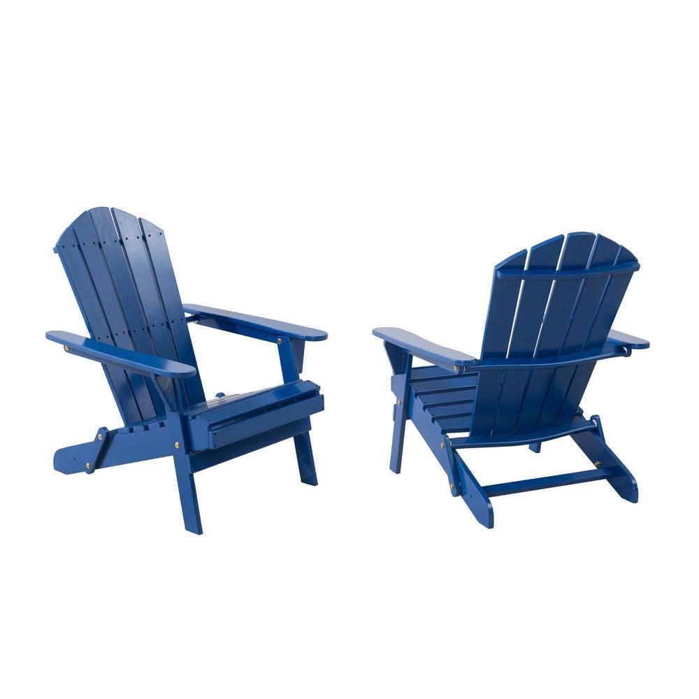 Classic Mariner Blue Folding Wooden Adirondack Chair (2-Pack)