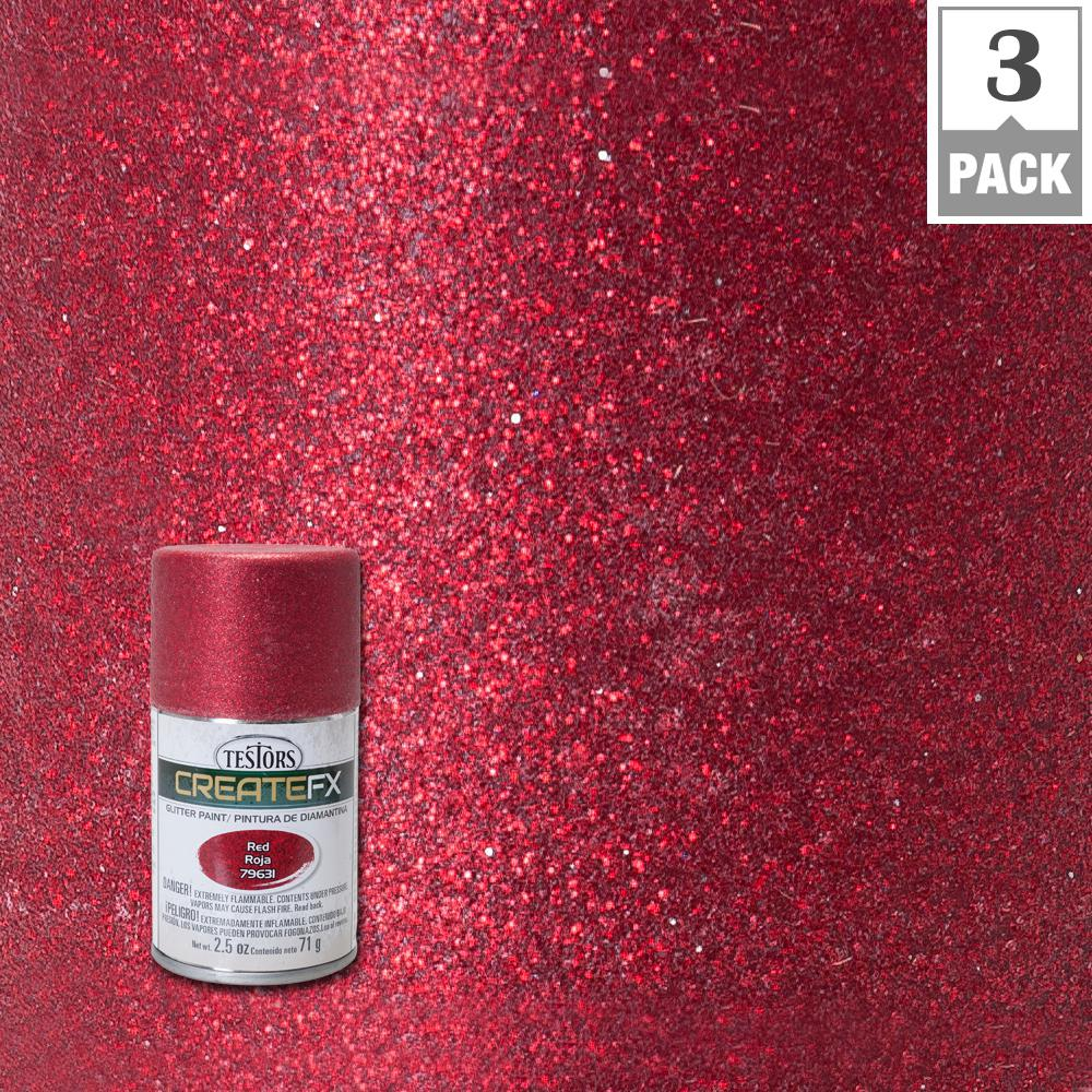 Testors Createfx 2 5 Oz Red Glitter Spray Paint 3 Pack 79631