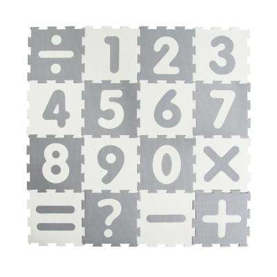 White/Gray 12 in. x 12 in. Numbers Play Mat (16-Pack)
