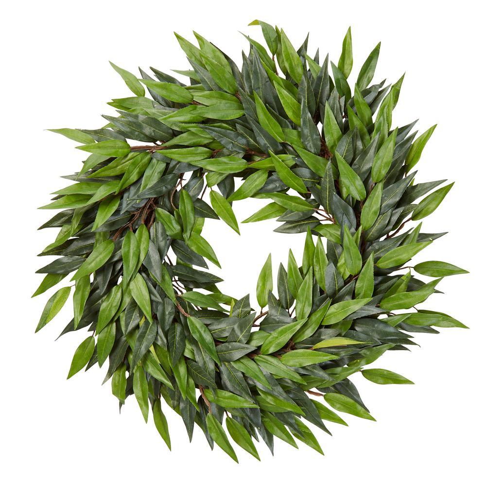 18 in. Artificial Ficus Microphylla Leaf Wreath
