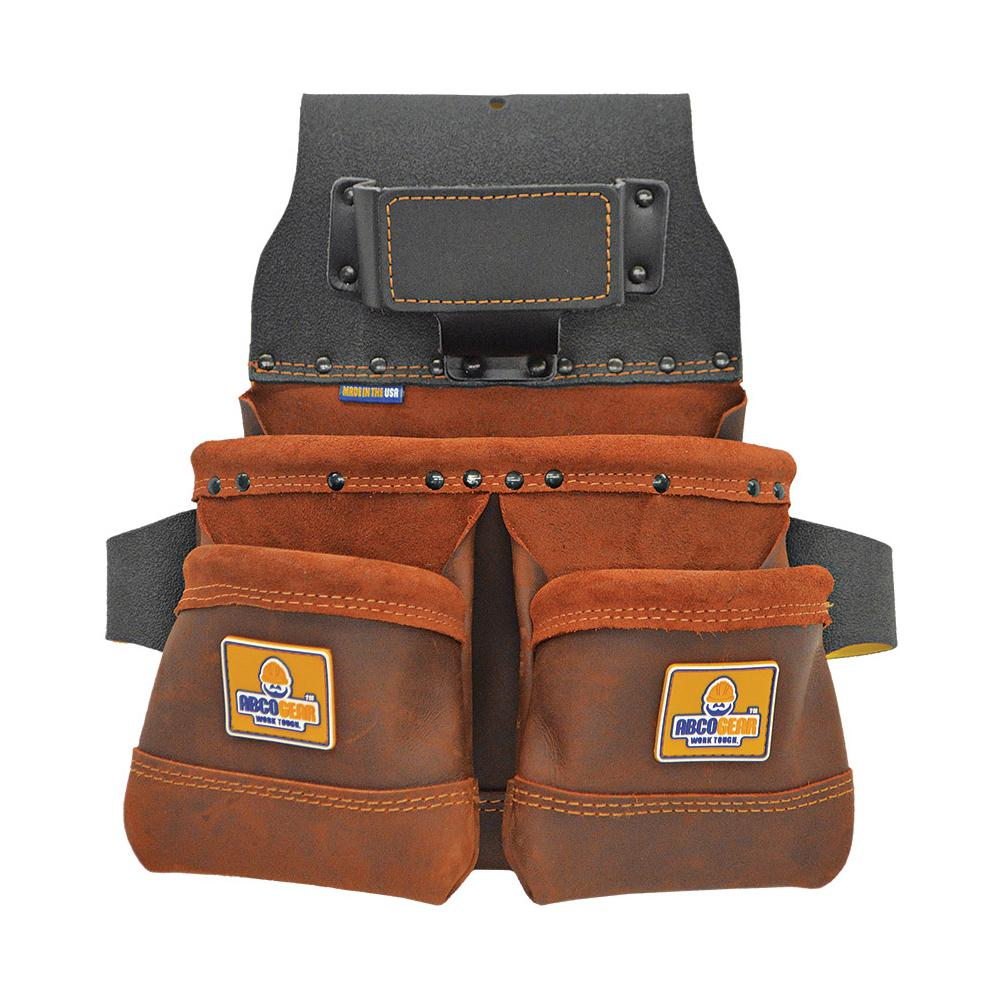 14 in. 3-Pocket Elite Series Leather Tool Pouch with Side-by-Side Front