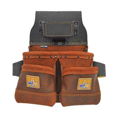 14 in. 3-Pocket Elite Series Leather Tool Pouch with Side-by-Side Front Pockets in Brown