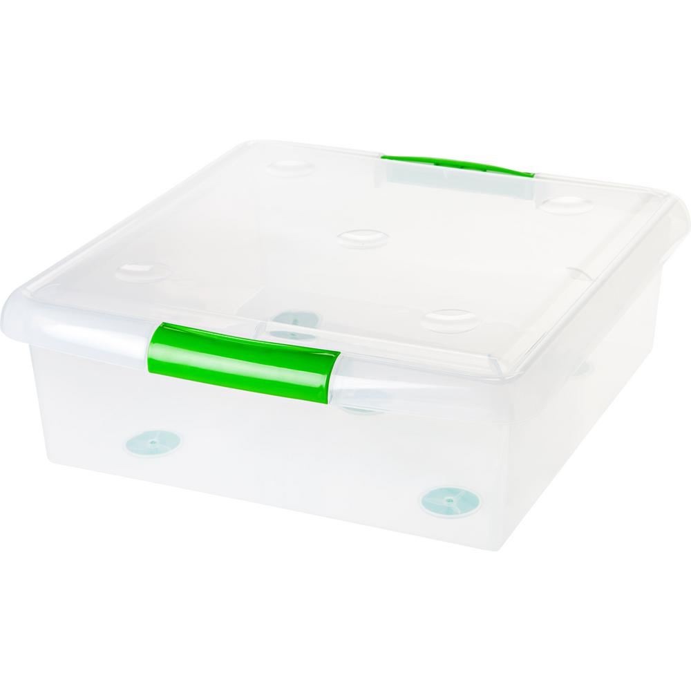 25-Qt. Store and Slide Storage Box in Clear Green Handle