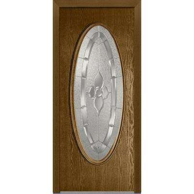 36 in. x 80 in. Master Nouveau Right-Hand Large Oval Lite Decorative Classic Stained Fiberglass Oak Prehung Front Door