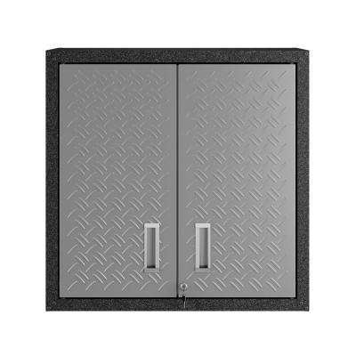 Fortress 30.3 in. H x 30 in. W x 12.5 in. D Floating Textured Metal Freestanding Cabinet with Adjustable Shelves in Gray