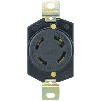 30 Amp 125/250-Volt Hart-Lock Industrial Grade Receptacle, Black and White