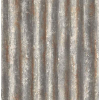 Charcoal Corrugated Metal Industrial Texture Wallpaper